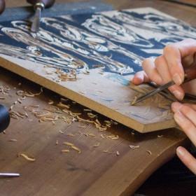 Making of, Druckplatte, schnitzen
