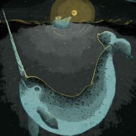 Narwal und Boot bei Nacht